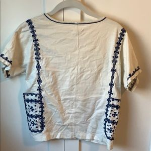 Madewell Tops - Madewell XS White and blue shirt